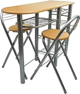 Cikonielf - Mesa de bar y 2 sillas altas con 2 sillas y mesa de desayuno, mesa alta con estante de almacenamiento para cocina