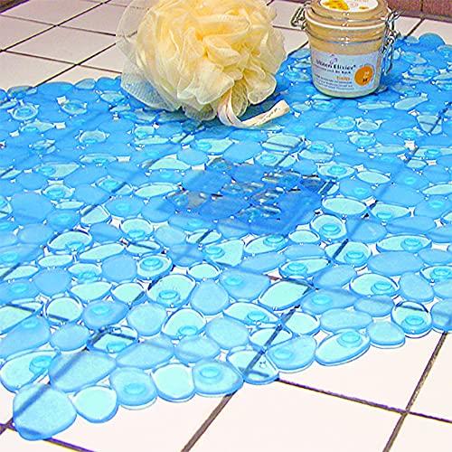 Kamaca - Alfombrilla de ducha grande en color azul marino con aspecto de piedra - 140 ventosas para su seguridad - Tamaño ajustable - Bañera, ducha o azulejos