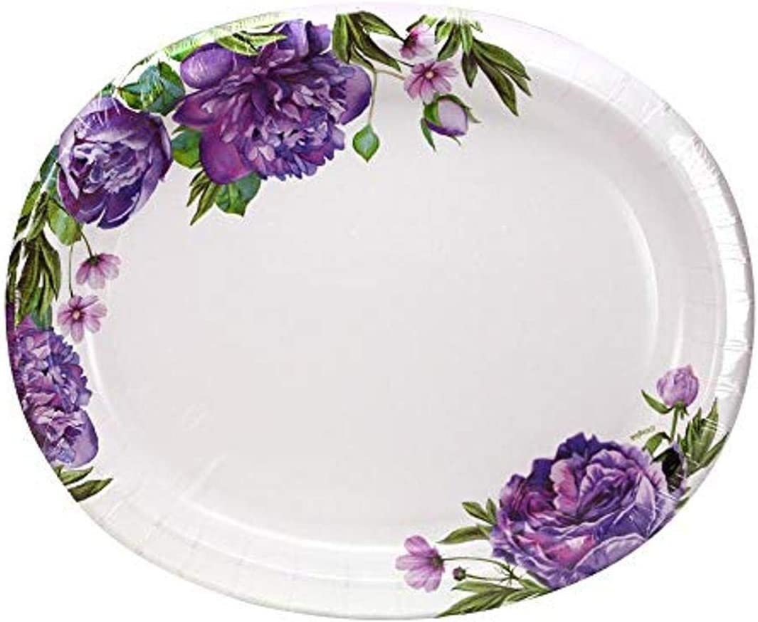 Disposable Oval Floral Paper Plates -12