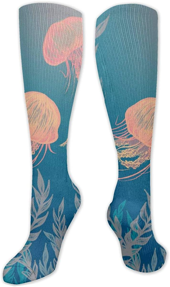 Orange Jellyfish Knee High Socks Leg Warmer Dresses Long Boot Stockings For Womens Cosplay Daily Wear