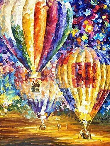 5D Diamant Olie Schilderen door Digitale Schilderij Kit Volledige Diamant DIY Art Ambachten Geschikt voor Home Muurdecoratie Hot Air Balloon Landschap 30x35cm
