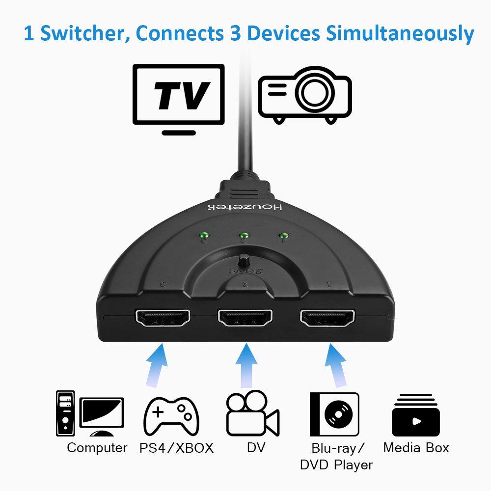 HDMI Switch, Houzetek HDMI Switcher 24K con 3 Puertos, 3 en 1 con ...