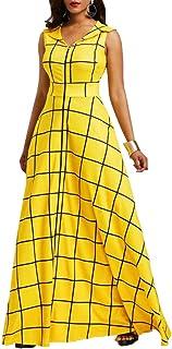 VERWIN Plaid Sleeveless Floor-Length Women's Maxi Dress Lapel Pocket Party Dress Long Dress