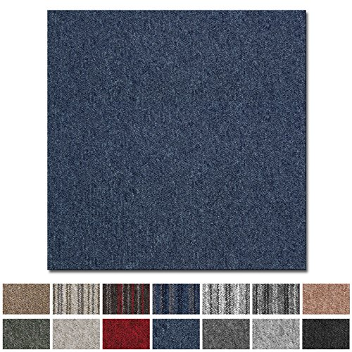 casa pura Teppichfliesen Vienna selbstliegend | hochwertiger Bitumen Rücken | strapazierfähiger Bodenbelag für Büro und Gewerbe | je 50x50 cm (Jeansblau - 4 Stück = 1qm)