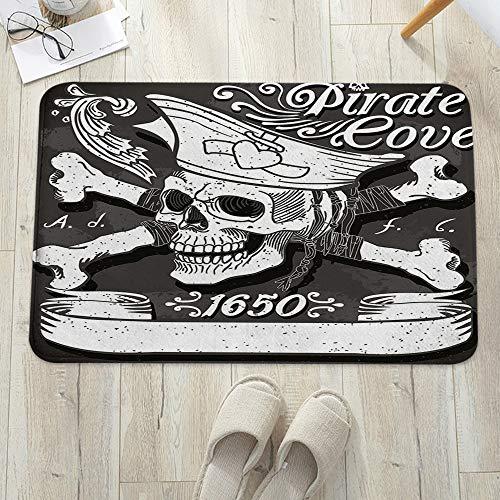 Alfombrilla de baño antideslizante, para baño o ducha,Pirate, Pirate Cove Flag Año de 1650 Vintage Frame Crossbones , alfombra de suelo absorbente, para sala de estar, sofá, cojín, caucho, 60 x 100 cm