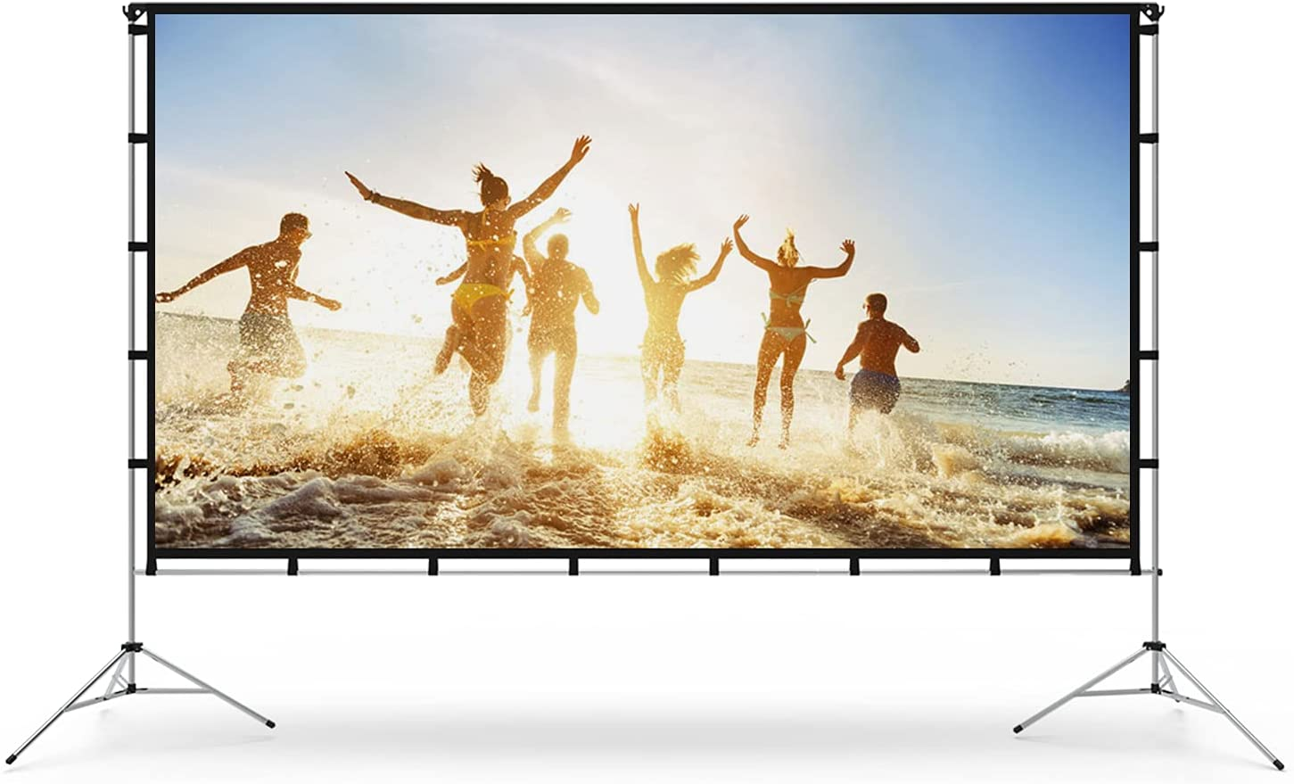 Projector Screen with Stand, Vamvo 80 inch Portable Foldable Projection Screen 16:9 HD 4K Indoor Outdoor Projector Movies Screen with Carrying Bag for Home Theater Camping and Recreational Events