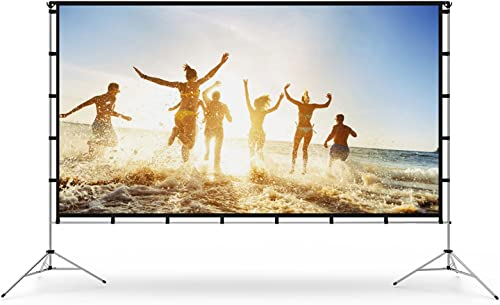 Vamvo Outdoor Indoor Projector Screen with Stand Foldable Portable Movie Screen 120 Inch (16:9) Full-Set Bag for Home...