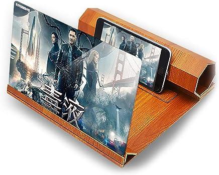 SHOW Amplificador de Pantalla de 12inch de Teléfono Móvil Universal,Soporte de Grano de Madera Portátil para Teléfonos Inteligentes.3D HD Ampliar 2-4 Veces