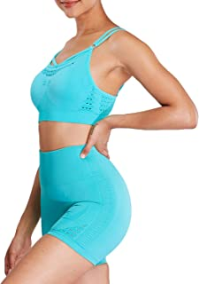 Aoxjox Yoga Outfit for Women Seamless 2 Piece Energry Workout Gym High Waist Shorts with Sport Bra Set