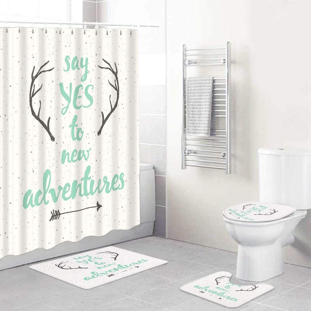 HASENCIV 4 Pcs Shower Cheap SALE Start Curtain Waterproof Ru with Sets Max 71% OFF Non-Slip
