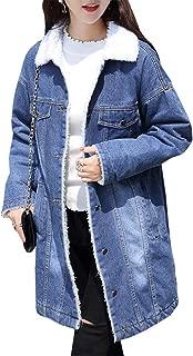 Women's Warm Sherpa Lined Long Denim Jean Jacket