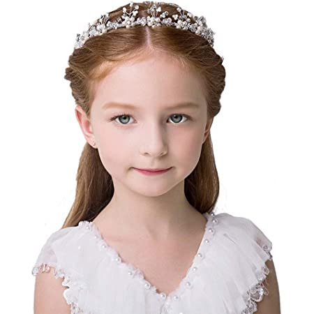 Fermagli Capelli per Fiore Ragazza Matrimonio Accessori Capelli Fascia Cerchietto Flower Girl Headband Diadema Perla e Cristallo