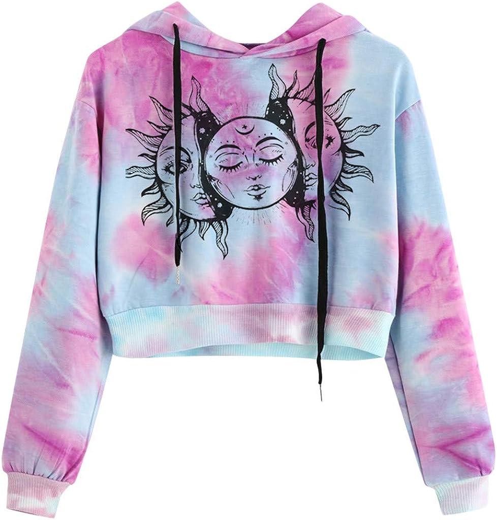 POTO Women's Long Sleeve Crop Top Crewneck Tie Dye Sweatshirt Hoodies Cute Pullover Tops Pattern Print Sweater Blouse