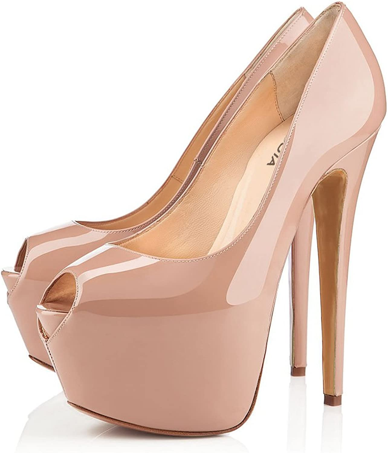 HUAN Women's Wedding shoes Heels Peep Toe Sandals Wedding Dress for Party & Evening Peach Black, Nude