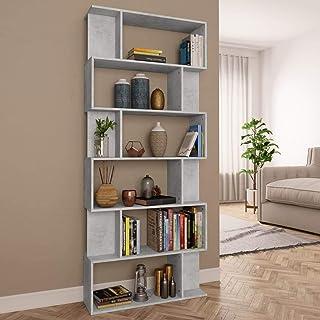 Festnight Bibliothèque Séparateur de pièce Étagère de Rangement pour Couloir ou Salon, etc Gris Cement 80x24x192 cm