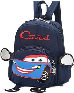 Mochila infantil unisex con diseño de coche para niños de 1 a 3 años, bolsa antipérdida, creativa, bandolera, ajustable, para viaje o escuela Azul Bleu Foncé 20*8*17cm