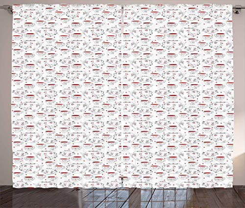 ABAKUHAUS Theekransje Gordijnen, Doodle Style Serviesgoed, Woonkamer Slaapkamer Raamgordijnen 2-delige set, 280 x 175 cm, Rood Zwart Wit