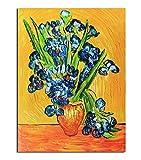Fokenzary Pintura al óleo pintada a mano sobre lienzo Vincent Van Gogh clásica lirios reproducción decoración de pared enmarcado listo para colgar