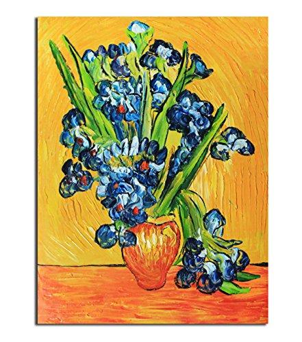 fokenzary handbemalt Ölgemälde auf Leinwand Vincent van Gogh klassischen, Reproduktion Wanddekoration gerahmt fertig zum Aufhängen, canvas, blau, 12x16in