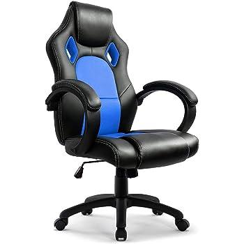IntimaTe WM Heart - Chaise de Bureau, Fauteuil pivotant, Dossier Haut Ergonomique, Cuir PU, Chaise de Maison, de Jeu, d'Ordinateur, Bleu