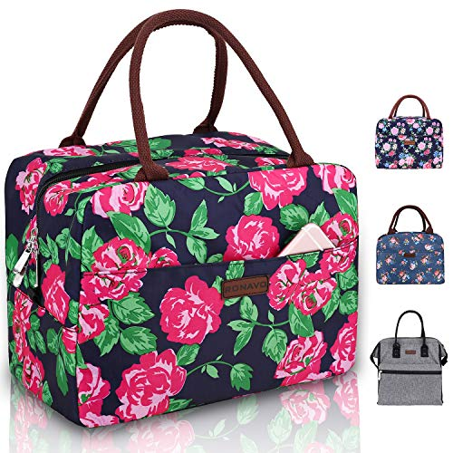 RONAVO Ladies Lunch Bags for Work - Womens Lunch Tote Insulated Lunch Box(Pink Peony)