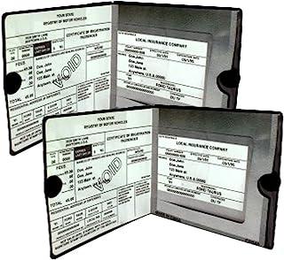صندوق بیمه اتومبیل حق بیمه اساسی BLACK اسناد کیف پولدار 2 بسته - [BUNDLE، 2pcs] - خودرو، موتورسیکلت، کامیون، تریلر وینیل دارنده ID و Visor ذخیره سازی - بسته شدن شدید در هر مورد - در هر وسیله نقلیه - 2 مجموعه بسته