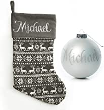 The Christmas Cart Personalised Gifts & Keepsakes Grey Knitted Stocking and Bauble Pack