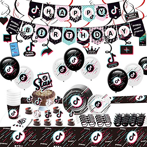 Tik Tok Party Decorations - 146 Tik Tok Party Supplies Pack for 16 Guests, Comes with a Happy Birthday Banner, 15 Hanging Swirls, a Birthday Cake Topper, 24 Cupcake Toppers, 24 Tik Tok Balloons, 16 Tik Tok Masks, 32 Plates, 16 Cups, 16 Tissues, a Big Size Tablecloth