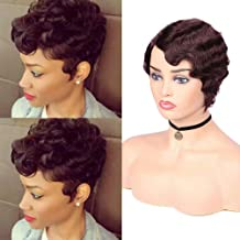 100% Human Hair Mommy Wig Short Wavy Finger Wave Wig for Black Women Remy Hair Pixie Wig Short Cut Curly Wig (99j# Red Wine)