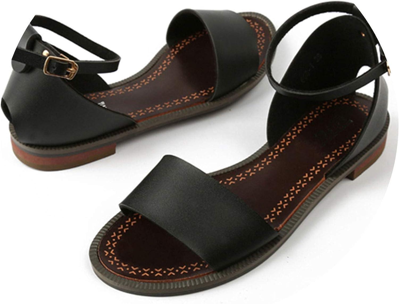 Women Sandals Solid Soft Leather Sandals Dress Women Beach shoes,Black,10.5