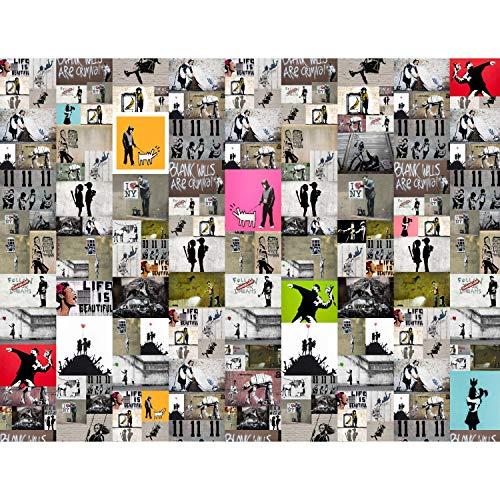 Carta da parati moderna - Mosaico di Banksy 396 x 280 cm...