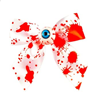 Cathercing Halloween Horror Bloody Eyeball Bow Ribbon Hair Barrettes Clip for Girls Kids Headband for Women Teen Vampire Costume Headpiece Hair Accessories for Festivals Cosplay Ball Prom Party