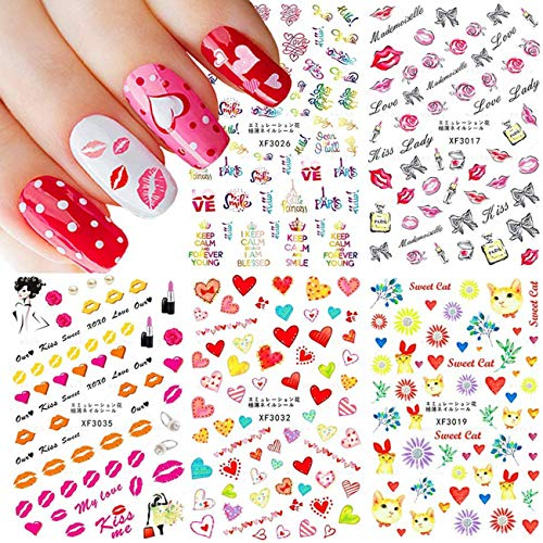 5 Sheets Self Adhesive Valentine's Day Nail Stickers Bright Color Flower Heart Word Kiss Nail Art Supplies Beautiful Nail Sticker Decals for Nail Arts Women Kids Manicure Tips Nail Decoration Accessories