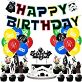 Star Wars Birthday Party Supplies, Star Wars Theme Party Decorations Set include Latex Balloons, Happy Birthday Banner, Cake Topper for Star Wars Fans Birthday Party Decorations
