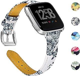 Joyozy Genuine Leather Bands Compatible Fitbit Versa Smartwatch,Fitbit Versa Wristband Replacement Accessories Fitness Straps Bands Women Men