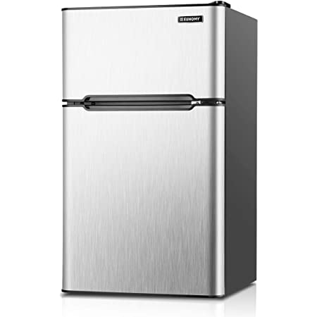Euhomy Mini Fridge with Freezer, 3.2 Cu.Ft Mini refrigerator with freezer, Dorm fridge with freezer 2 door For Bedroom/Dorm/Apartment/Office - Food Storage or Cooling Drinks(Silver).