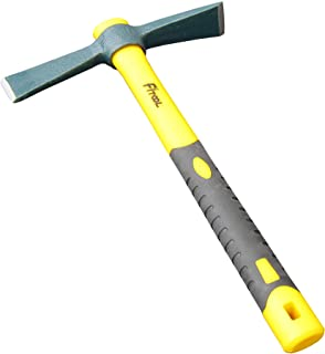 Forged Adze Hoe, Weeding Mattock Cutter, Pick Axe 15-Inch, One Piece Intact Drop Forged, Plastic Coated Fiberglass Handle, 1.5LB