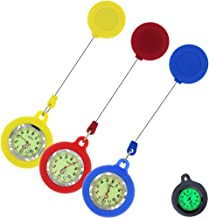 Paramedic Luminous Nurse Fob Watch for Nurses Doctors, Nite Glow in Dark with Whole Dial & Pointer,Retractable Digital Fob Watch for Nurses and Doctors,Silicon Cover,with Battery Inside