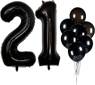 IN-JOOYAA 40 Inch Jumbo Foil Number 21 Mylar Balloons Black 21st Balloon for 21th Birthday Party Anniversary Celebrate Party Decoration