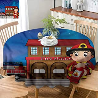 Playyee Food Round Tablecloth Fireman,Fire Station Extinguisher Circular Table Cover Diameter 36