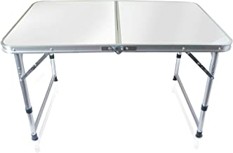 Folding Table, Outdoor Table Adjustable Height Camping Portable Folding Table Square Stainless Steel, Picnic Table Camping Lightweight with Extended Legs, White