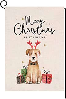 BLKWHT Merry Christmas Dog Small Garden Flag Vertical Double Sided Happy New Year Burlap Yard Outdoor Decor 12.5 x 18 Inches (196533)