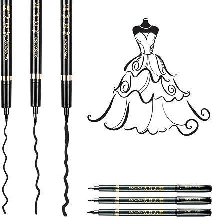 Yosoo 3pcs Penne da calligrafia ,Penne da Disegno Acqua Pennello Penne Arte Pennelli Calligrafia Acquarello Penna Pennarello Spazzola Set per Scrittura e Disegno Graphic Comic Maker