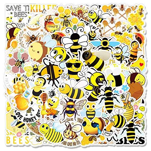 LSPLSP Pegatinas de graffiti de abeja linda para cuaderno monopatín, equipaje, etiqueta engomada de dibujos animados de animales amarillos, 50 unids/paquete