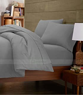 Royal Home Collection 100% Egyptian Cotton 3 PCs- Duvet Cover Set Twin Extra Long Bed Size, Silver Grey Solid 600 Thread Count