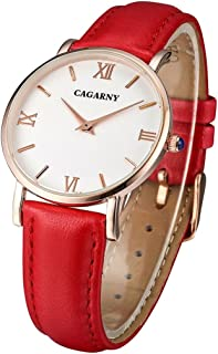 Lanbinxiang@ 6813 Simple Style Ultra-Thin Rose Gold case Quartz Watch with Ladies Leather Strap Fashion (Color : Red)