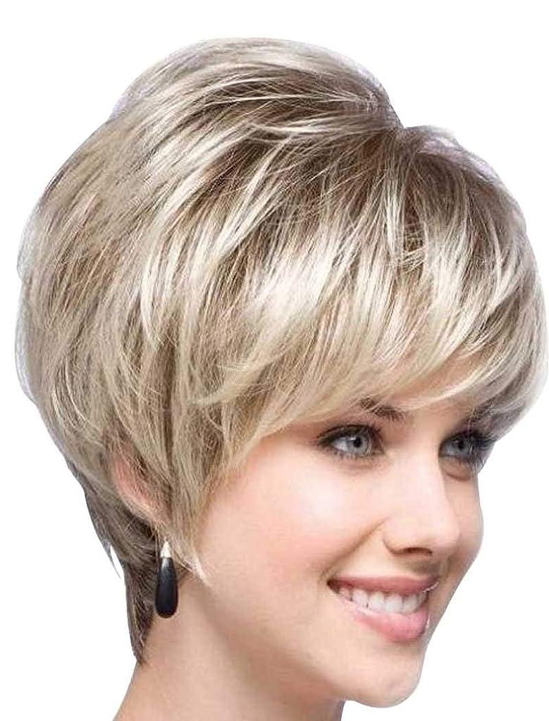 感染する硬化する震え女性の女の子のための黒い根、短い切口、かつらのかつらが付いているかつらの優雅なブロンドの毛