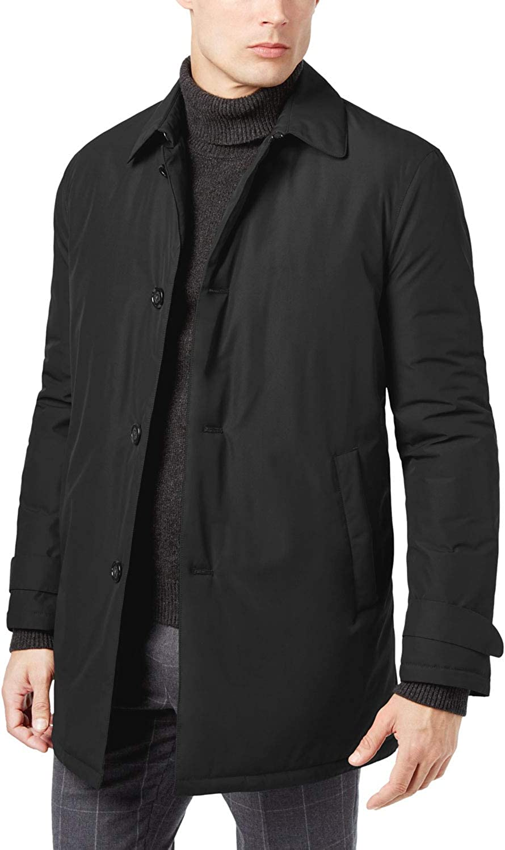Ralph Lauren Mens Lerner Solid Over Coat, Black, 48 Regular