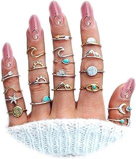 ZZ ZINFANDEL 15-20PCS Boho Retro Knuckle Stackable Ring Set for Women Girls,Turquoise Star Moon Sun Peak Sea Wave Compass ...