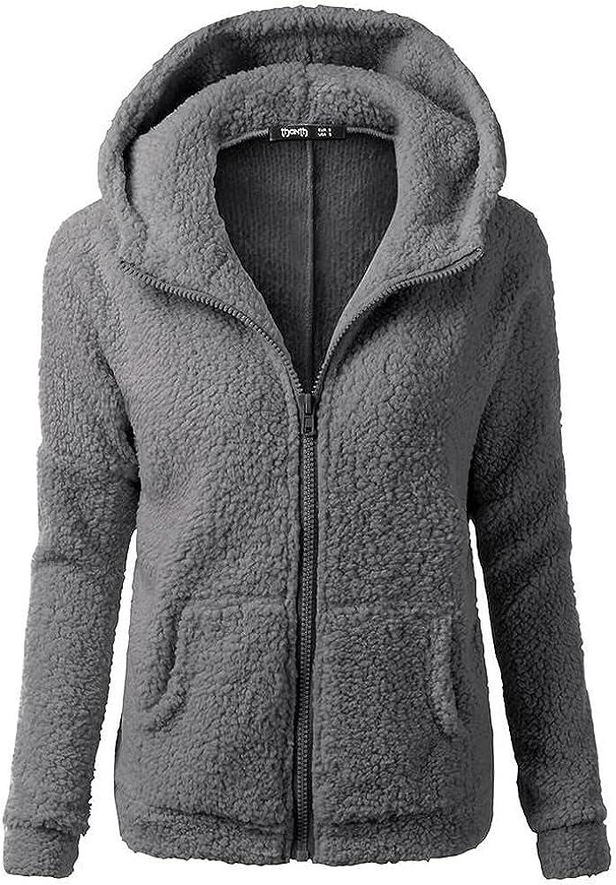 Women Oversized Fuzzy Hoodies Winter Warm Solid Color Wool Zipper Coat Casual Loose Pullover Hooded Sweatshirt Outwear